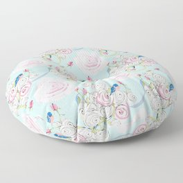 Shabby Chic Bluebirds and Watercolor Roses on pale blue Floor Pillow