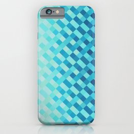 Aqua Blue Light Abstract Grid Pattern Design iPhone Case