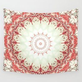 Autumn's Splendor Mandala -- Russet Red Leaves on Pale Mint Wall Tapestry