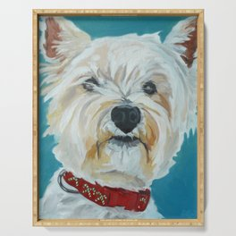 Jesse the Beautiful West Highland White Terrier Dog Portrait Serving Tray
