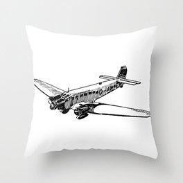 Old Airplane Detailed Illustration Throw Pillow