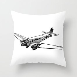 Old Airplane Detailed Illustration Throw Pillow