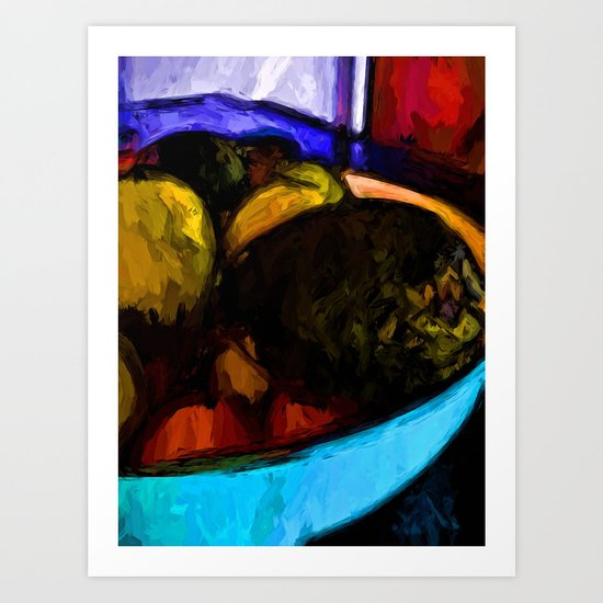 Avocado with Apples and Mandarins in a Bowl Art Print