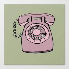 Vintage rotary phone in green Canvas Print