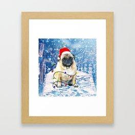 Pug Holidays Christmas Snow Framed Art Print