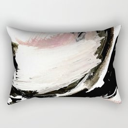 Crash: an abstract mixed media piece in black white and pink Rectangular Pillow