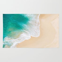 Sand Beach - Waves - Drone View Photography Rug