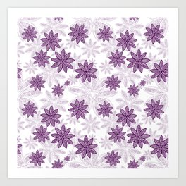 Gorgeous Purple Floral Geometric Print Art Print