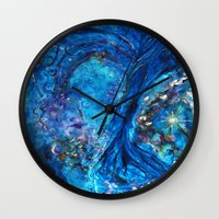 fairies Wall Clocks featuring Fairies Paradise by Lily Nava Gallery Fine Art and Design