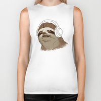 sloths Biker Tanks featuring What is a sloths favourite music? by laurxy