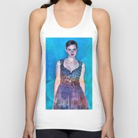 emma stone Tank Tops featuring Emma Watson - Blue by André Joseph Martin
