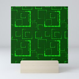 Green carved squares and frames for abstract grass background or pattern. Mini Art Print