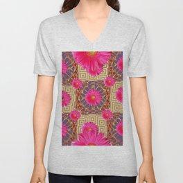 Fuchsia Gerbera Flowers & Grey Patterns Unisex V-Neck