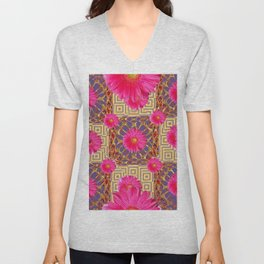 Fuchsia Gerbera Flowers & Grey Patterns Unisex V-Neck