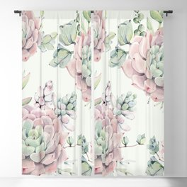 Pink Echeveria Light Green #society6 #buyart Blackout Curtain
