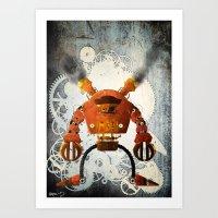 Steampunk Robot N1 Art Print