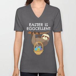 Sloth Easter -  Easter is Eggcellent Unisex V-Neck