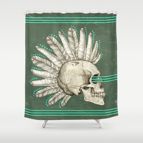 Indian Skull Shower Curtain By AmDuf