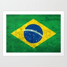 Brazil national flag background in grunge vintage style Art Print