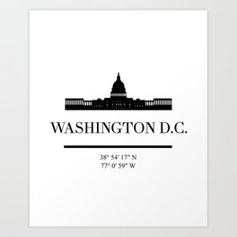 WASHINGTON DC BLACK SILHOUETTE SKYLINE ART Art Print