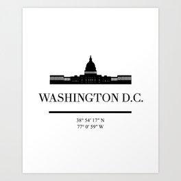 WASHINGTON DC BLACK SILHOUETTE SKYLINE ART Art Print