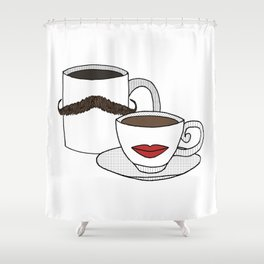 The Caffeinated Couple Shower Curtain
