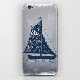 Great Gatsby Hand-Lettered Boat Art iPhone Skin