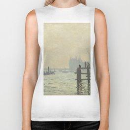 The Thames below Westminster by Claude Monet Biker Tank