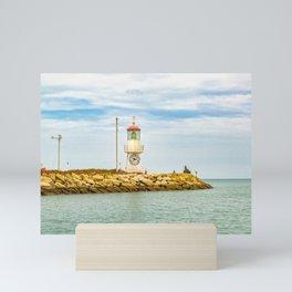 Lighthouse at Rock Breakwater Salinas Ecuador Mini Art Print