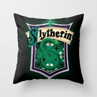 slytherin Throw Pillows featuring Slytherin by Zeynep Aktaş
