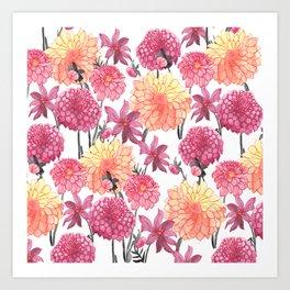 Dahlias in bloom autumn Art Print