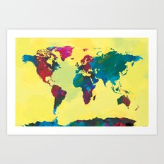 Watercolor World Map Art Print