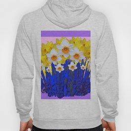 DECORATIVE YELLOW & WHITE DAFFODILS PURPLE BLUE ART Hoody