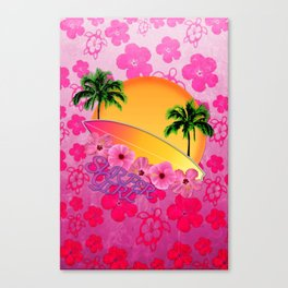 Surfer Girl Pink Tropical Flowers Canvas Print