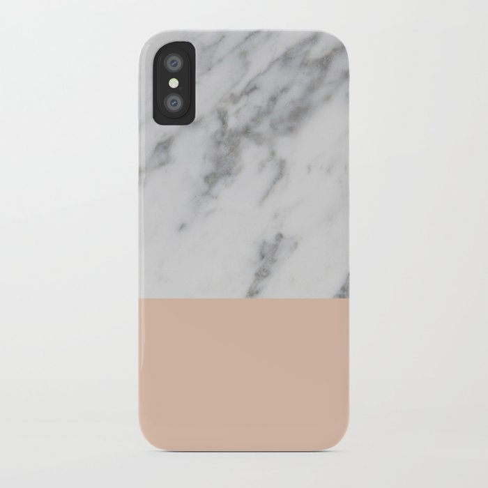 Marble and Blush Pink iPhone Case