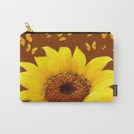 COFFEE BROWN YELLOW SUNFLOWER & BUTTERFLIES Carry-All Pouch