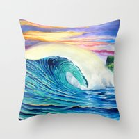 indonesia Throw Pillows featuring  Surf Art  Indonesia by Surf Art Gabriel Picillo