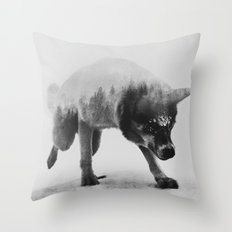 Akiak The Husky (black & white version) Throw Pillow