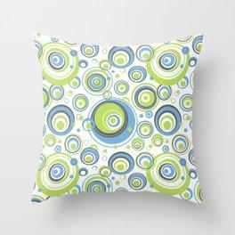 Scrambled Circles Blue/Green Throw Pillow