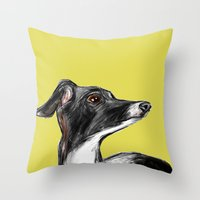 greyhound Throw Pillows featuring Greyhound by James Peart