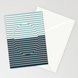 Optical Hypnotic Illusion 3 - Turquoise Blue Stationery Cards