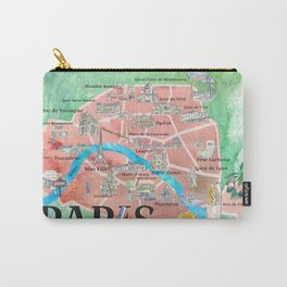 Paris France City Of Love Illustrated Travel Poster Favorite Map Tourist Highlights Carry-All Pouch