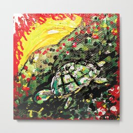 Sunset turtle Metal Print