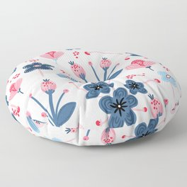 Mid-Century Modern Pink And Blue Floral Pattern Floor Pillow