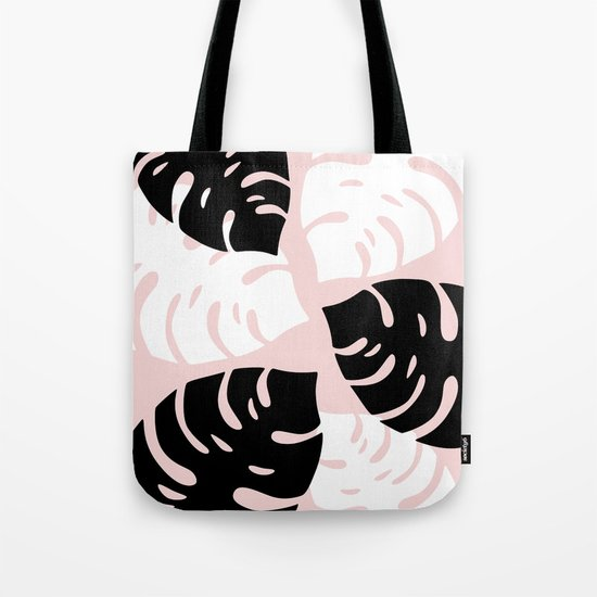 Palm Leaves on Pink Tote Bag
