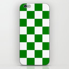 Large Checkered - White and Green iPhone Skin