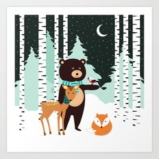 Friends in winter Art Print