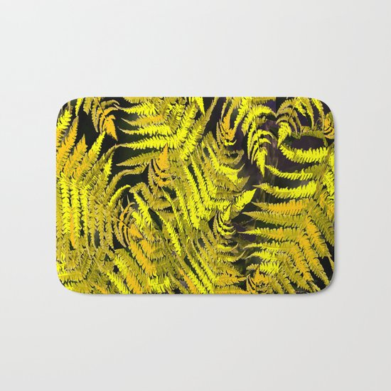 Ferns on a black background - #society6 #buyart Bath Mat