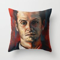 moriarty Throw Pillows featuring James Moriarty by Alice X. Zhang