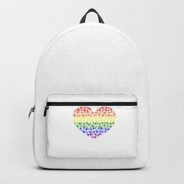 Made of Rainbow flag LGBT symbol on heart vector with colorful hand prints background Backpack